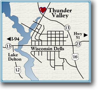 Map to Thunder Valley Inn